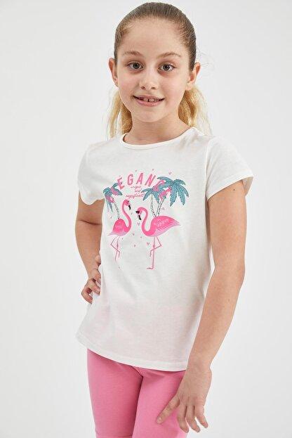 Defacto Kız Çocuk Flamingo Baskılı Kısa Kollu Tişört