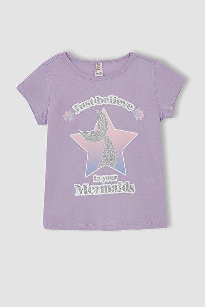 Defacto Kız Çocuk Deniz Kızı Baskılı Kısa Kollu Tişört