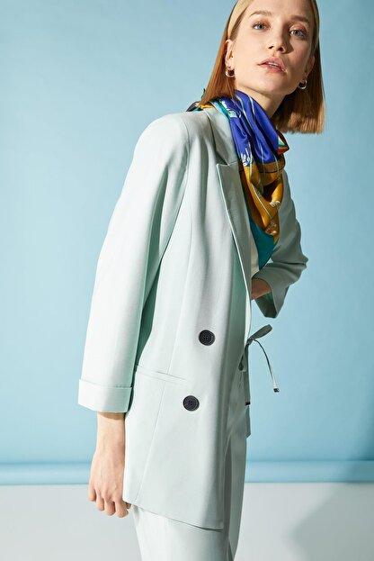 Defacto Kadın Turkuaz Oversize Fit Blazer Ceket
