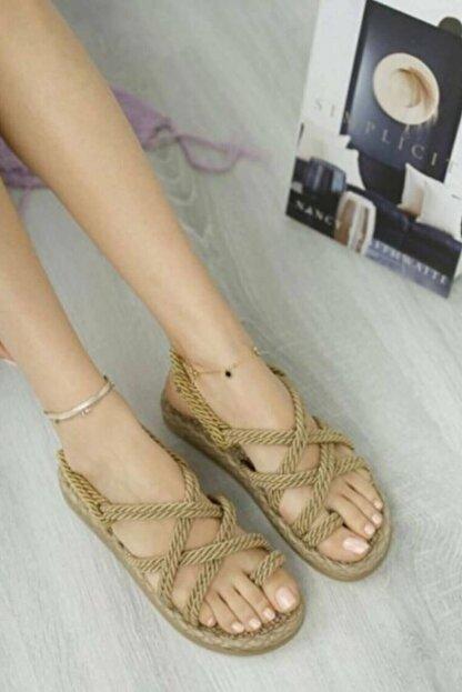 Matilla Kadın Altın Hasır Sandalet