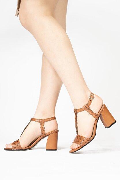 CZ London Kadın Kahverengi Topuklu Sandalet