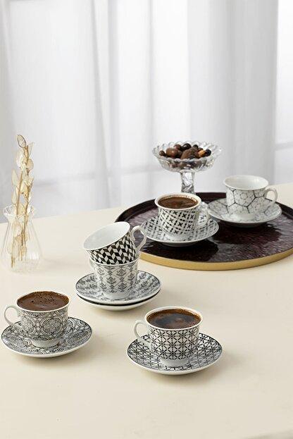 English Home Carey Porselen 6'lı Kahve Fincan Takımı 90 ml Siyah