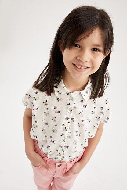 Defacto Kız Çocuk Çiçek Desenli Bağlama Detaylı Kısa Kol Gömlek