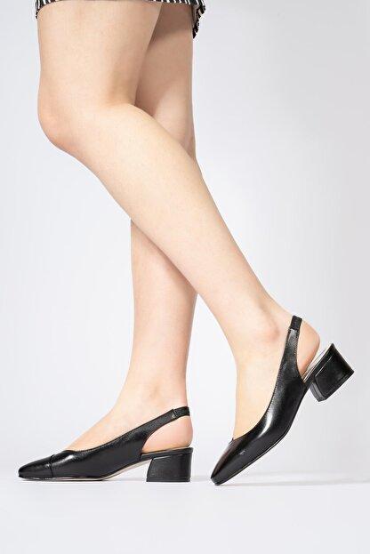 CZ London Hakiki Deri Kadın Lastikli Sandalet Açık Kısa Topuklu Ayakkabı
