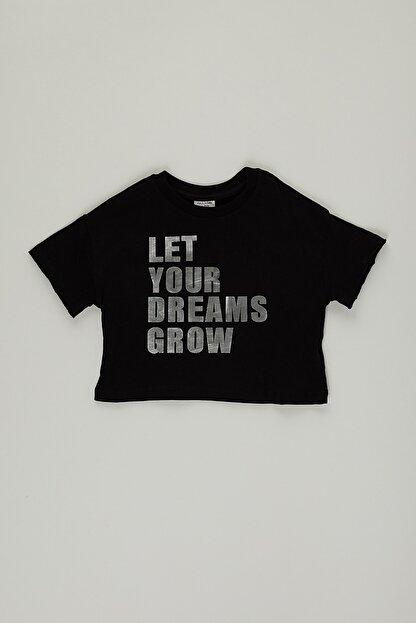PAULMARK Kız Çocuk Siyah Parlak Yazılı T-shirt