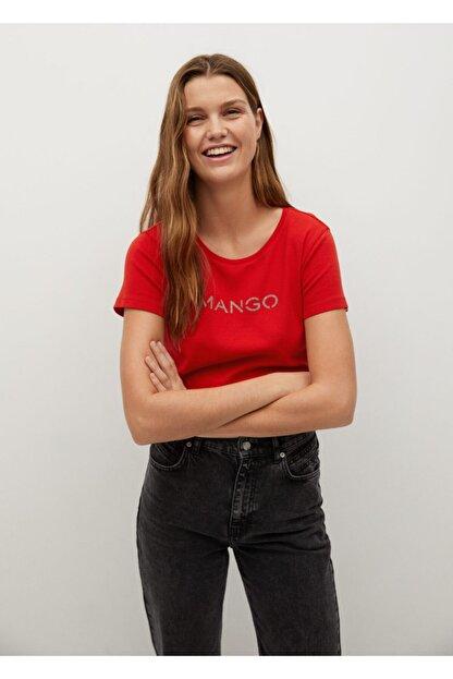 Mango Kadın Kırmızı Organik Pamuklu Logolu Tişört