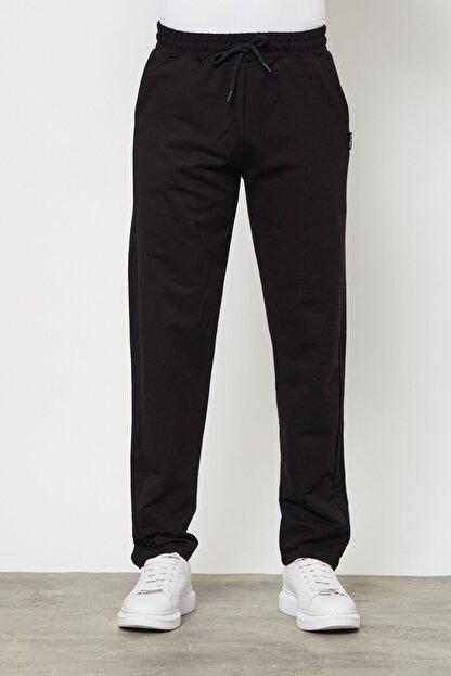 COMEOR Siyah Erkek Düz Paça Rahat Kesim Mevsimlik Premium Kumaş Eşofman Altı