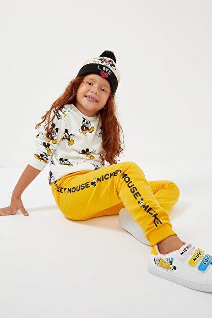 Defacto Kız Çocuk Sarı Mickey Mouse Lisanslı Eşofman Altı