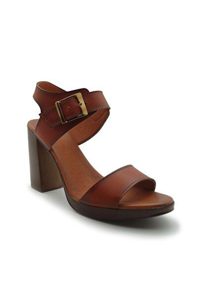 ModanınNabzı Kadın Taba Hakiki Deri Platform Topuklu Ayakkabı 211020tb