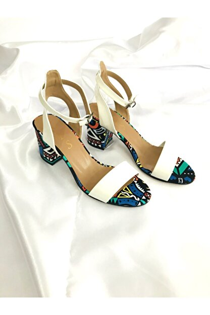 Kalan Shoes Renkli Ekose Tek Bant Kadın Topuklu Ayakkabı