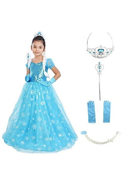 Mashotrend Frozen Elsa Tarlatanlı Simli Kısa Kollu Kostüm + Full Set