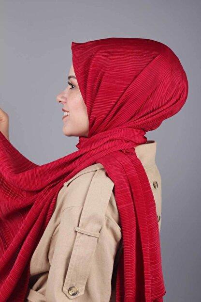 Asmira Kadın Kırmızı Düz Renk Pliseli Şal