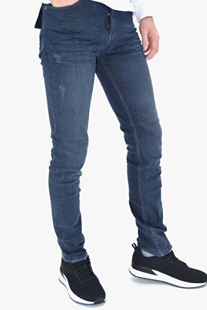 ds danlıspor Erkek Mavi Yıpratmalı Krinkıllı Likralı Kot Pantolon