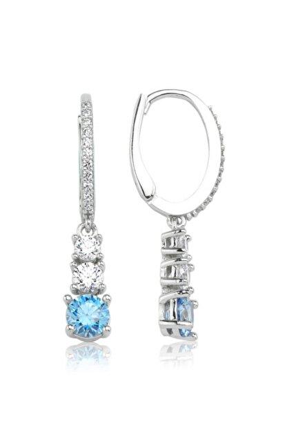 Valori Jewels 1.54 Karat Swarovski Zirkon Mavi Ve Beyaz Yuvarlak Taşlı, Gümüş Üçtaş Küpe