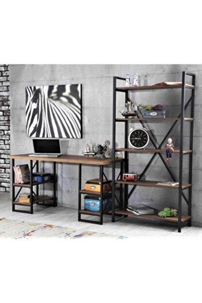 Sedef Çalışma Masası 4 Raflı & Kitaplık Masa Takımı Ofis & Ev Takım Ceviz Renk