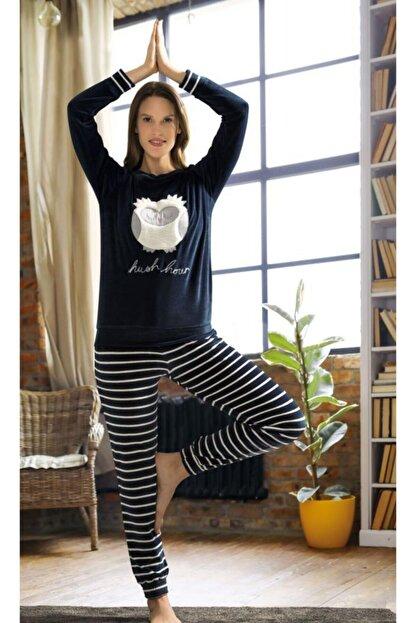 Poleren Kadın Lacivert Kışlık Pijama Takımı 6152