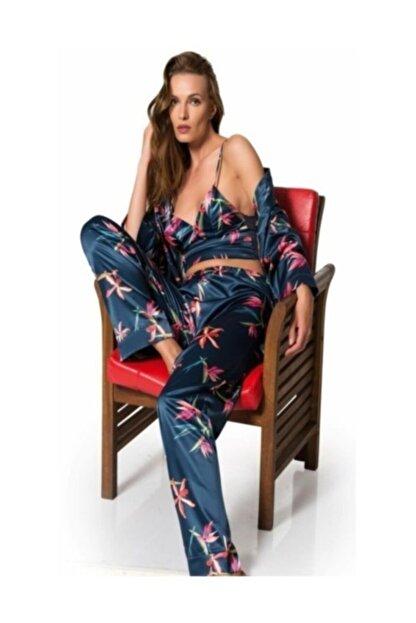 MOONGIRL Kadın Lacivert Üçlü Saten Pijama Takımı