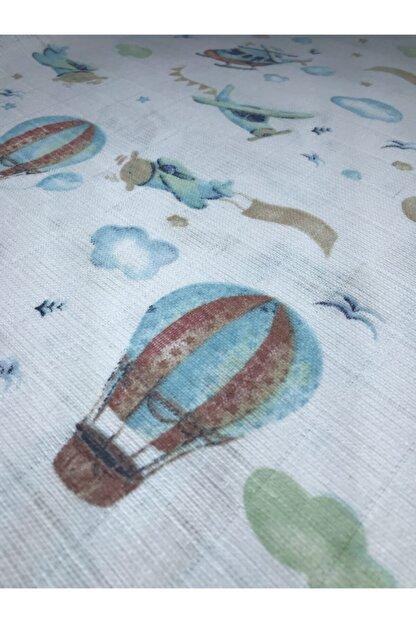 BEBELA Unisex Bebek Beyaz Uçak Desenli Müslin Bebek Battaniyesi Ağız Mendili Seti 3 Lü