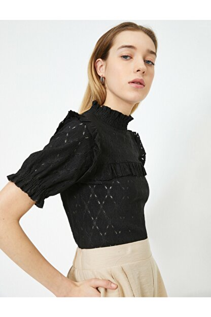 Koton Kadın Siyah T-Shirt 0YAK13124EK