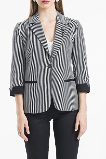 Belissi Kadin Siyah Ofis Cizgili Ceket Pantolon Takim Trendyol