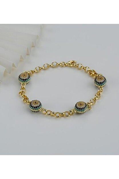 Gümüşistan Kadın Gold 925 Ayar Gümüş Göz Nazarlı Trend Bileklik