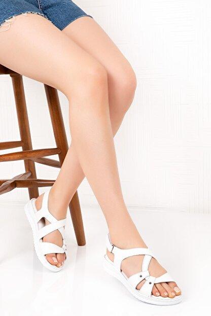 Bellacomfort Shoes Kadın Beyaz Hakiki Deri  Sandalet