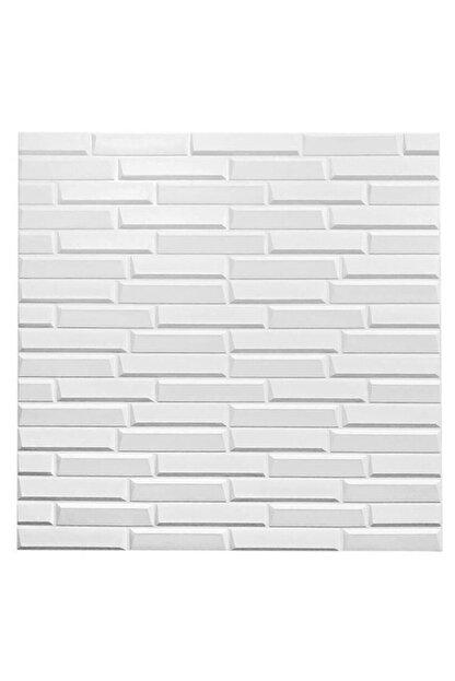 Renkli Duvarlar Nw55 Opak Küçük Taş Desen Kendinden Yapışkanlı Sünger Esnek Beyaz Duvar Paneli 70x77 Cm 6 Adet