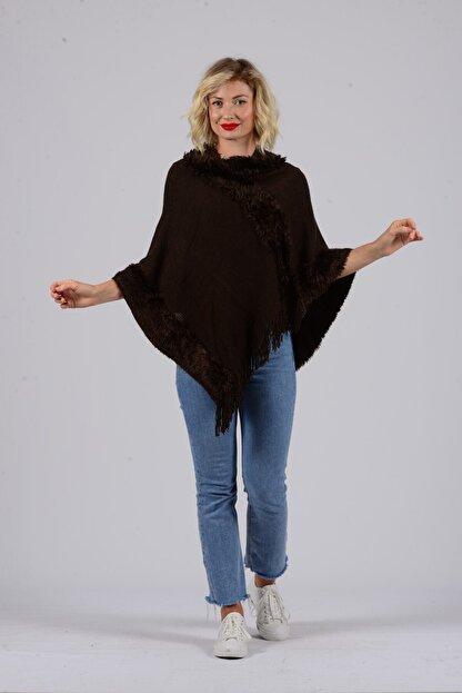 Gezgin tekstil ve aksesuar Kadın Kahverengi Püsküllü Panço