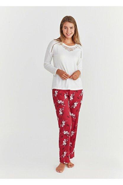 Suwen Kadın Bordo Pijama Takımı