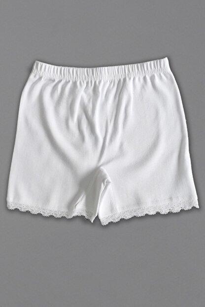 Altun Kız Çocuk Beyaz Penye Mini Şort Boxer