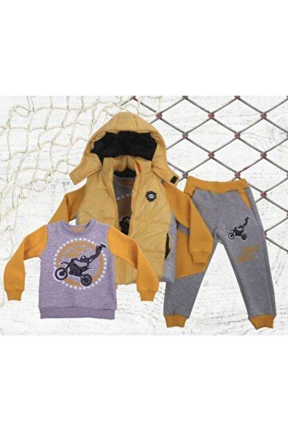 Aymini Kids Erkek Çocuk Sarı Kışlık Yelekli Takım