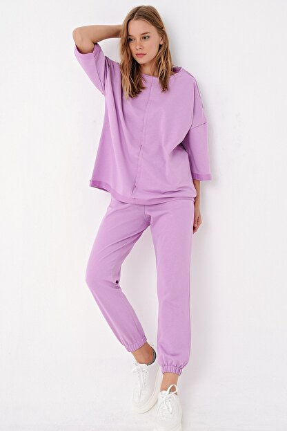Trend Alaçatı Stili Kadın Lila Önü Dikişli Eşofman Takımı ALC-X4925