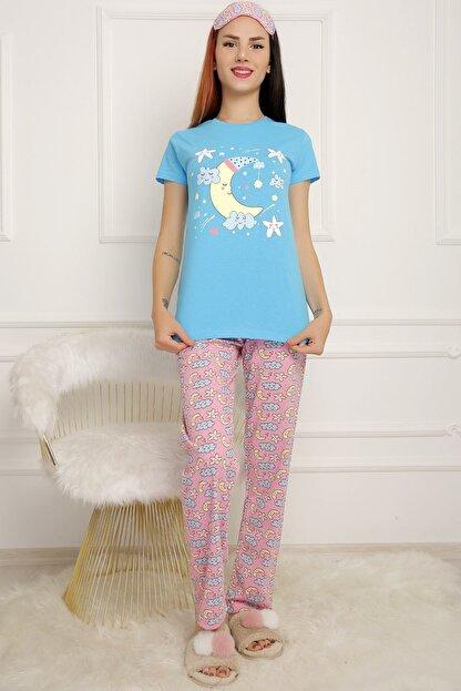 BİLDİKS Kadın Mavi Lavanta Pijama Takımı