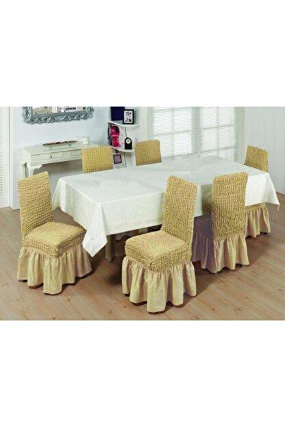 EVİBU Bürümcük Sandalye Giydirme Örtüsü Sütlü Kahve Renk