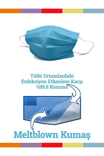 Maskemask Meltblown Full Ultrasonk Maske 3 Katlı Mavi Kumaş 100ad
