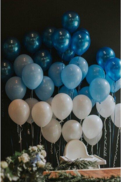 MERİ PARTİ 100 Adet Mavi-beyaz-lacivert Metalik Balon Ve Balon Zinciri Konsept Balon Parti Süslemeleri