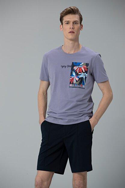 Lufian Nefer Modern Grafik T- Shirt Lila