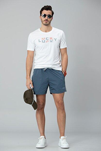 Lufian Lukki Modern Grafik T- Shirt Beyaz