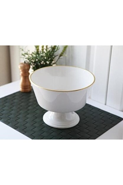 Gönül Porselen Beyaz Gold Ayaklı Seramik Meyvelik Ø:22.5cm H:16.5cm 2803