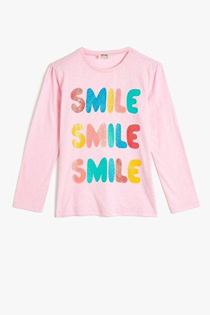 Koton Kız Çocuk Pembe Baskılı T-Shirt