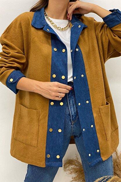 BEHİCE SAĞLAM Kadın Kahverengi Kot Detay Kaşe Ceket