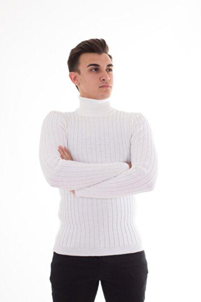 Çanta Deryası Erkek Beyaz Fitilli Slimfit Boğazlı Kazak