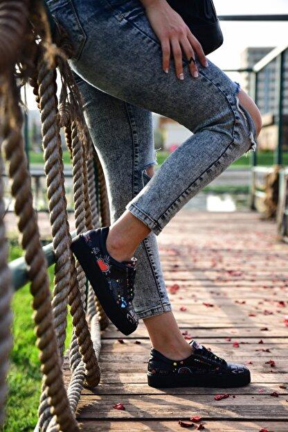 MİNAMİRA Kadın Siyah Baskılı Sneaker