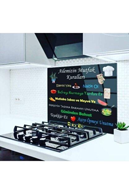 ECELUXE Siyah Mutfak Ocağı Arkası