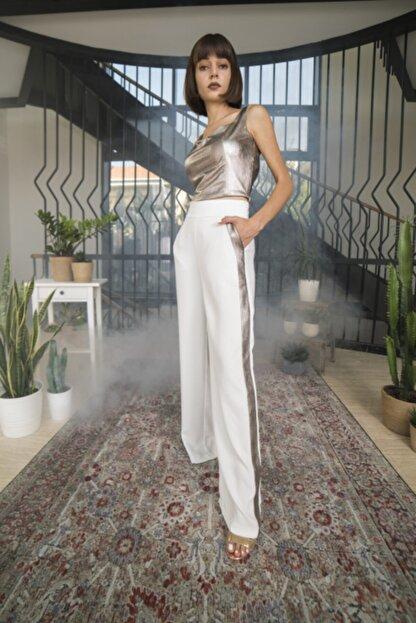 OPIA FASHION Kadın Beyaz Parlak Şeritli Bol Paça Pantolon