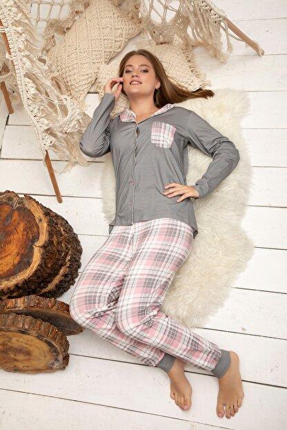 ELİTOL Kadın Desenli Pamuklu Likrali Düğmeli Pijama Takim