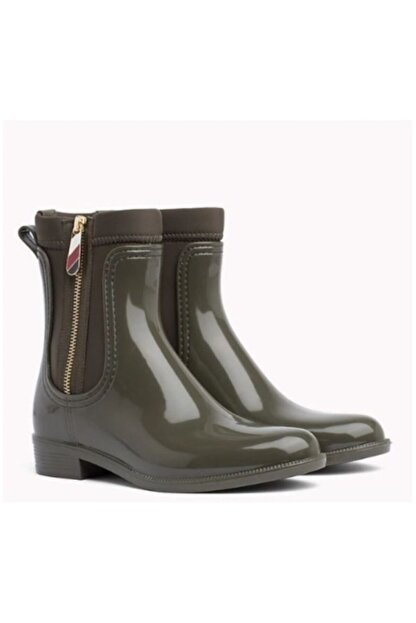 Tommy Hilfiger Kadın Yeşil Material Mix Yağmur Botu Fw0fw03562