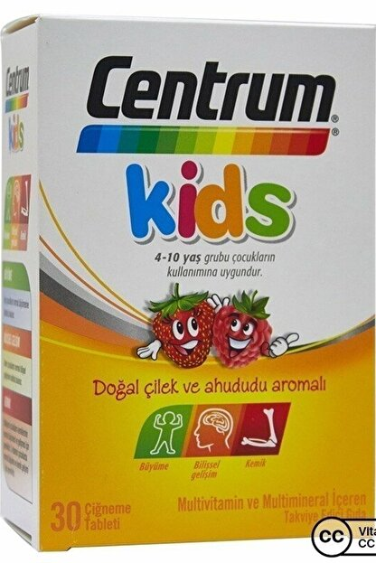 Centrum Kids Multivitamin 30 Çiğneme Tableti - Çilek-ahududu