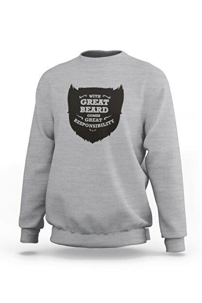 Ketuna Unisex Gri Great Beard Baskılı Sweatshirt