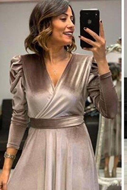 MACFLY Kuşaklı Midi Boy Kruvaze Yaka Kadife Elbise